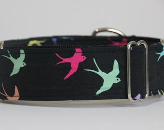 "Greyhound - Colourful Birds on Black 1.5"" Martingale Collar"
