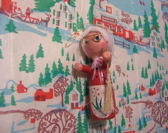 little wooden mrs santa claus ornament
