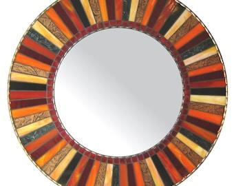 Round Mosaic Mirror   Wall Mirror   Circular Mirror   Handmade Mirror   Custom Mirror   Red, Black, Copper & Orange