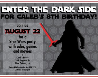 Star Wars Inspired Kylo Ren Birthday Party Invitation Printable