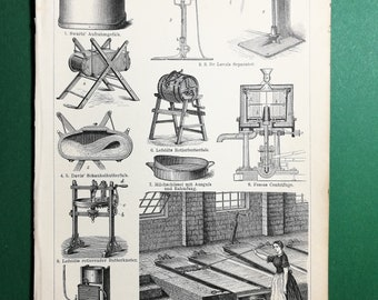 Butter Preparation, original old print from an old german book, 1895
