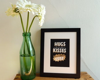 """Hugs and Kisses 5""""x7"""" gold foil stamped print"""