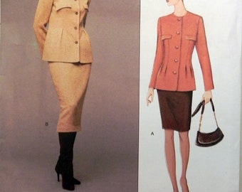 """Geoffrey Beene Below Hip Fitted Jacket Straight Lined Skirt sewing pattern American Designer Size 6 8 10 Bust 30.5 32.5 34"""" UNCUT FF"""