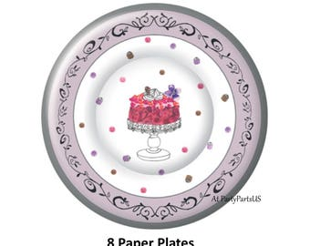 purple birthday cake plates, girls party ideas, sweet 16 decorations, bridal shower, dessert plate, pretty, womens birthday, adults, baby