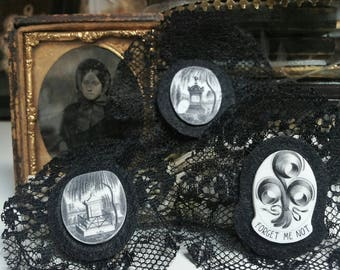 Vintage victorian mourning altered art brooch.
