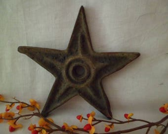 """Antique Vintage 6 1/2"""" Cast Iron Architectural Building Star Salvage From PA #6"""