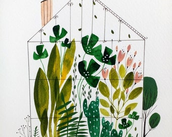 Greenhouse plants house watercolor original painting