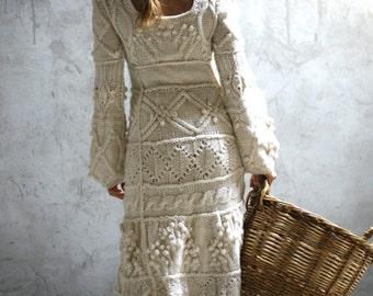 Off-white hand knit dress - wedding dress - custom order