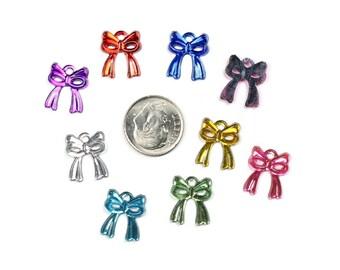 40 Acrylic Christmas Bow Charms - Mixed Colors
