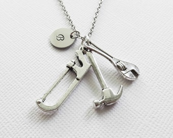 Tools Necklace Tool Hammer Wrench Saw Handyman DIY Man Gift Fathers Day Gift Silver Jewelry Personalized Monogram Hand Stamped Letter Disc
