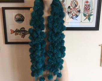 Vintage Turquoise Blue Rabbit Fur Scarf Stole Rainbow Soft Taxidermy Fox Mink Jazzy Baroque