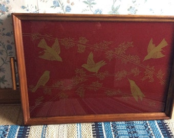 Vintage Red Tea Tray with Gold Birds Handles