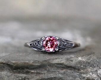 Pink Topaz Ring - October Birthstone Ring - Antique Style Topaz Ring - Dark Sterling Silver - Pink Gemstone Rings - Filigree Ring