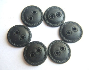 6 Antique vintage leather buttons black buttons 20mm, sew on buttons, RARE