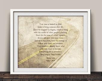 Steve Jobs Speech - Graduation Gift - Stay Hungry Stay Foolish - Stanford Inauguration Speech - Leadership Art - USA Made