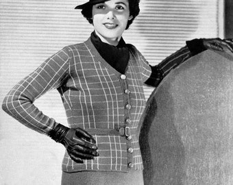 1930s Knitting Pattern- Plaid Button Up Blouse and Skirt- PDF Pattern Instant Download