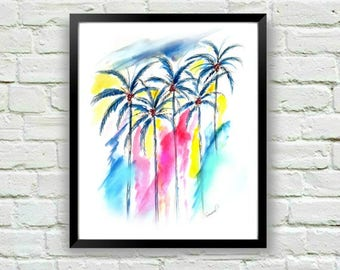 Palm Tree Print, Coastal Art, Palm Tree Wall Art, Coastal Wall Art, Watercolor Print, Palm Print, Art for Bedroom