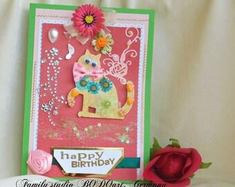 Happy Birthday cards. Toddler Birthday. Birthday 3D card. Cat card. 1st Birthday. Gift for kids. Children Birthday. Cat Birthday card.