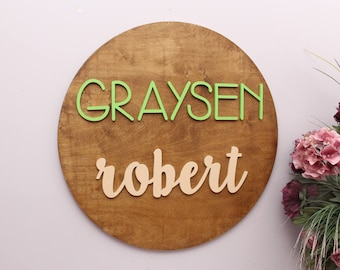 Nursery Decor, Round Wood Sign, Wooden Wall Art, Nursery Wood Letters, Family Name Circle Wood Sign, Baby Shower Gift, Housewarming Gift
