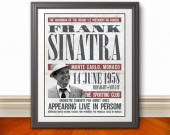 FRANK SINATRA Re-Imagined Concert Poster Print | 11x14 | Retro | Vintage | Monte Carlo | 1958 | French
