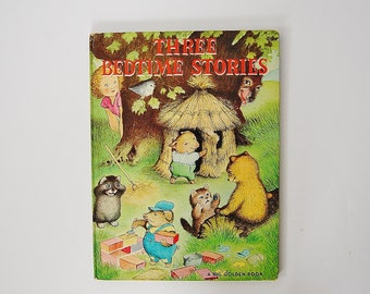 Vintage Bedtime Book, Three Bedtime Stories Book, The Three Kittens, The Three Little Pigs, The Three Bears, A Big Golden Book