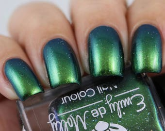 "Nail polish - ""Artfully Evasive"" green / blue / multichrome polish"