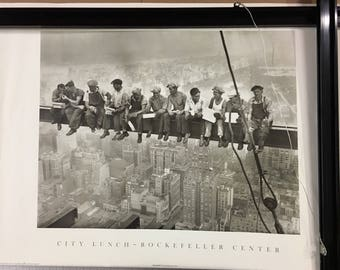 City Lunch- Rockefeller Center, Iconic, Vintage, Famous Poster with 3 little fixable tears