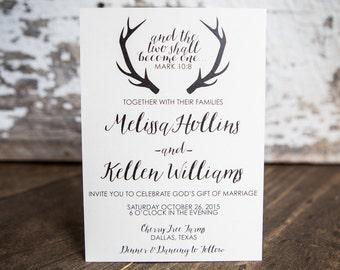 Wedding Invitation, Antler Wedding Invitation, Rustic Wedding Invitation- Antler Wedding Suite : A7 Wedding Invitations