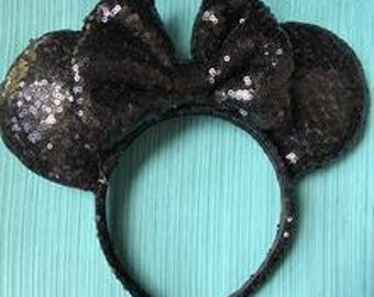 Black Full Sequin Minnie Mouse Ears