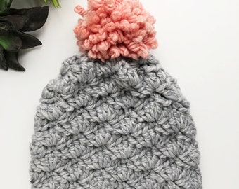 Crochet Adult Hat - Gray with Pink Pom - Adoption Fundraiser