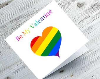 Valentines Card, valentines day card, greetings card, lesbian card, digital are, lesbian valentine, Be My Valentine - LGBT - blank inside.