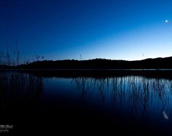 Moonlight, Reflections on water, night photography, dark, blue, black, peaceful wall art, metal, fine art photography print