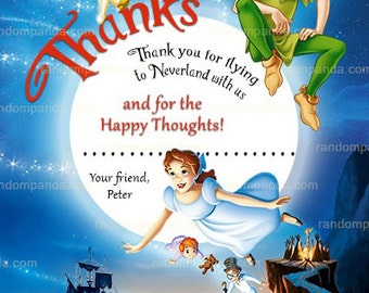Peter Pan Thank you Card, Tinkerbell Party, Peter Pan Thanks Note