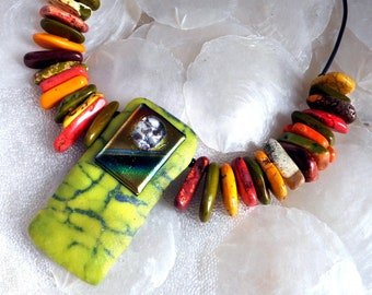 Dichroic Glass Statement Necklace in Fused Glass, Magnesite, Green, Red, Orange, Brown, Shield of Strength, Warrior Princess, Large Pendant