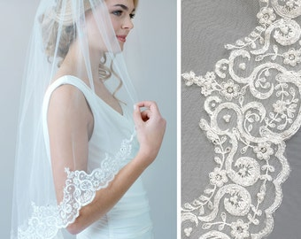 Pearl Lace Wedding Veil, Rhinestone Bridal Veil, Lace Cathedral Veil, Fingertip Length Veil, Lace Veil, Cathedral Veil, Tulle Veil ~VB-5048