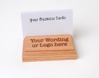 Wood Business Card Holder - Custom Engraved Business Card Display