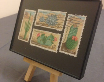 """Cactus - Recycled Postage Stamp Framed Art 3.5""""x5"""" - desert stamps"""