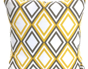 Yellow Taupe White Pillow Covers, Decorative Throw Pillows, Cushions, Corn Yellow Taupe White Diamond  Annie, One or More ALL SIZES
