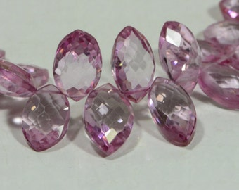 Pink 10x6x4.4mm 2 beads Topaz Beads Faceted Pink Topaz Teardrop Beads Natural Gemstone Jewelry Supplies