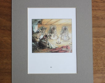 Original Beatrix Potter Tailor of Gloucester Print - Vintage Colour Plate Mice Mouse Sewing Peter Rabbit Benjamin Bunny Mouse Needlework
