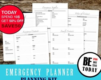 Emergency Planner, Emergency Family Planner, Emergency Contacts, Disaster Planner, Emergency Supplies, Planner Insert, Filofax, Letter A4 A5