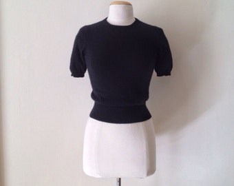 black fitted sweater / black cashmere sweater  / simple black cropped sweater / 50s sweater