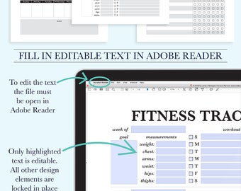 Fitness Journal, Fitness Printable, Fitness Planner PDF, Fitness Log, Fitness Tracker, Workout Planner, Letter Size Planner Printable, A4