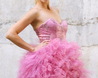 Amazing Pink evening gown with lace, short lace dress,  short evening dress in  pink , short formal dress, S occasion women dresses
