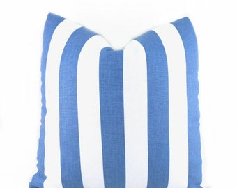 "CLEARANCE SALE Pillow Covers 16""x12"" Pillow Cover Blue and White Pillow Premier Prints Stripe Canopy Baby Blue"