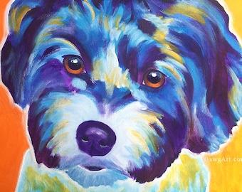 Havanese, Pet Portrait, DawgArt, Dog Art, Pet Portrait Artist, Colorful Pet Portrait, Havanese Art, Colorful Havanese, Art Prints
