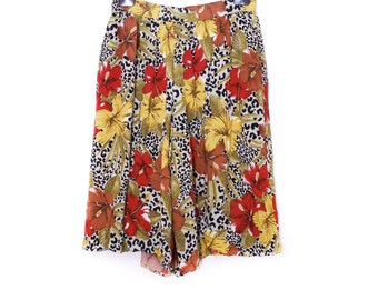 Vintage Culottes, large Rayon boho wide skirt trousers, yellow brown burgundy tiger hibiscus pattern, autumn clothing made in West Germany