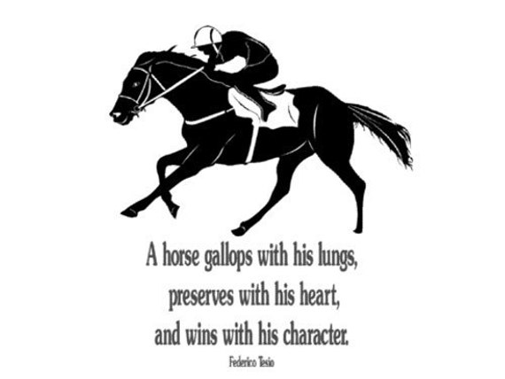 Horse decal horse race quote horse sticker large 40 x 45