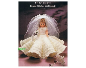 "Crochet Pattern for 13"" Bed Doll - Vintage Digital Crochet Pattern Instant Download"