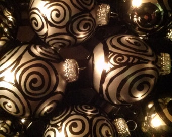 Black on gray zentangle inspired spiral design glass Christmas ornaments
